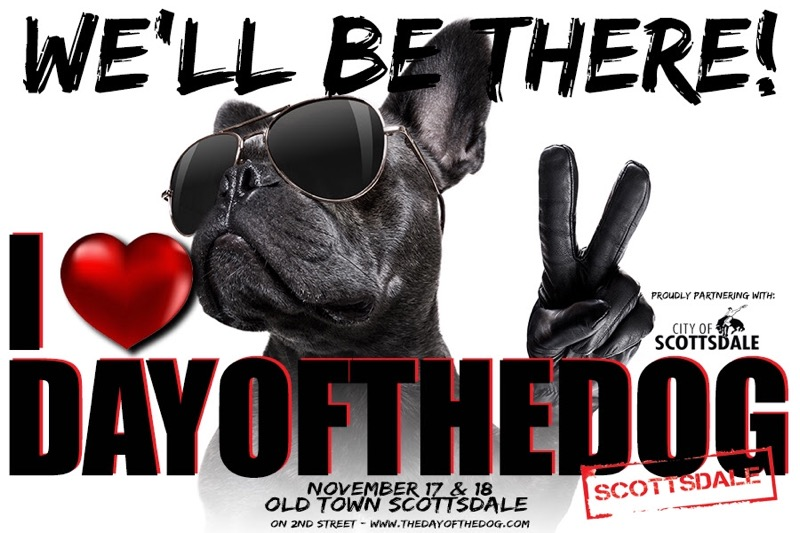 Day of the Dog promo - a dog holding up a peace sign